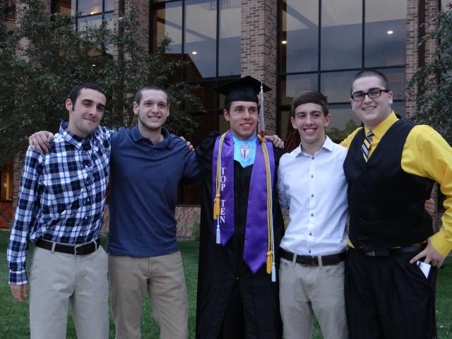The graduated with his old swim team buddies My Josh, Josh, Austin & Chris