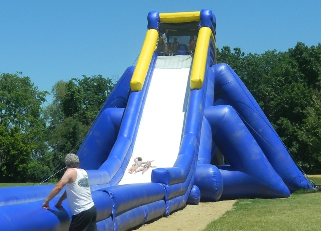 My nieces, Grace (9) and Liz (5) on the monster water slide at the beach