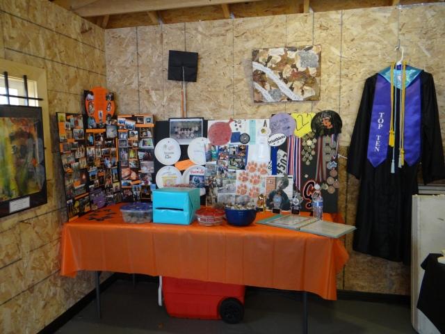 Nathan's wall of memories at his grad party