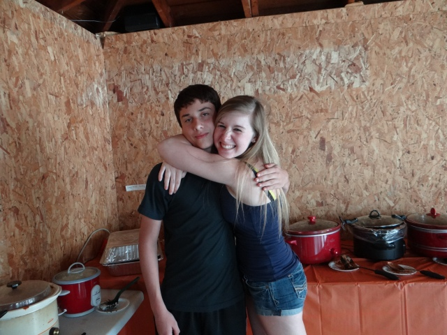 """Griffin and his """"sister"""" Baylee.  Friends since 6th grade, were on middle school swim team together (boys & girls are separate in high school) and their big brothers swam together."""