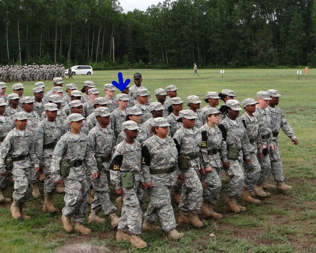 Charlie Company marching off the parade field after graduation.