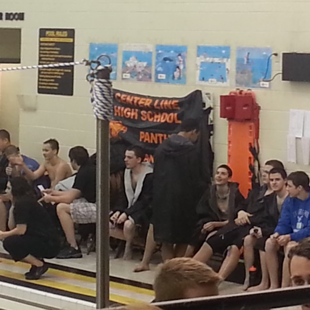 The CL boys relaxing during the diving portion of the meet