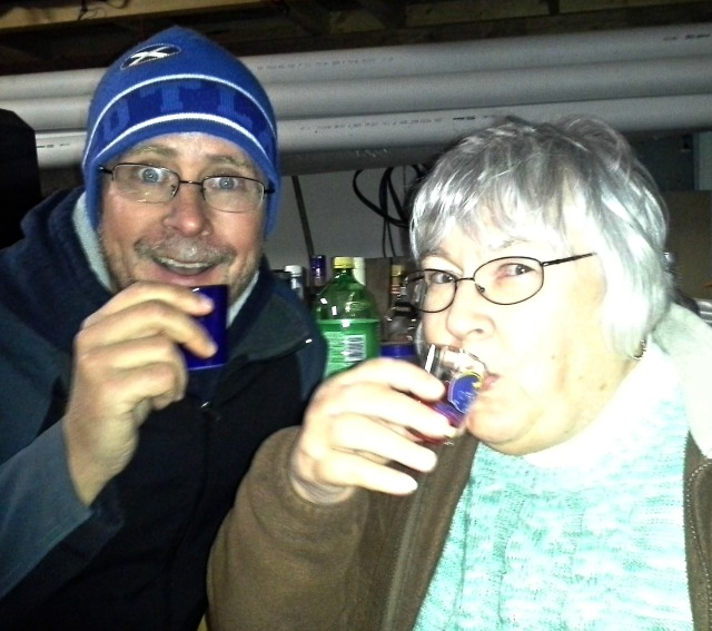 Joel was making everyone do shots with him, this was the 3rd shot my mom EVER had in her life!